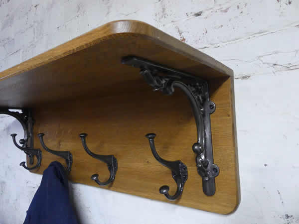 Solid Oak Coat and Hat Rack with Cast Iron Ends (48