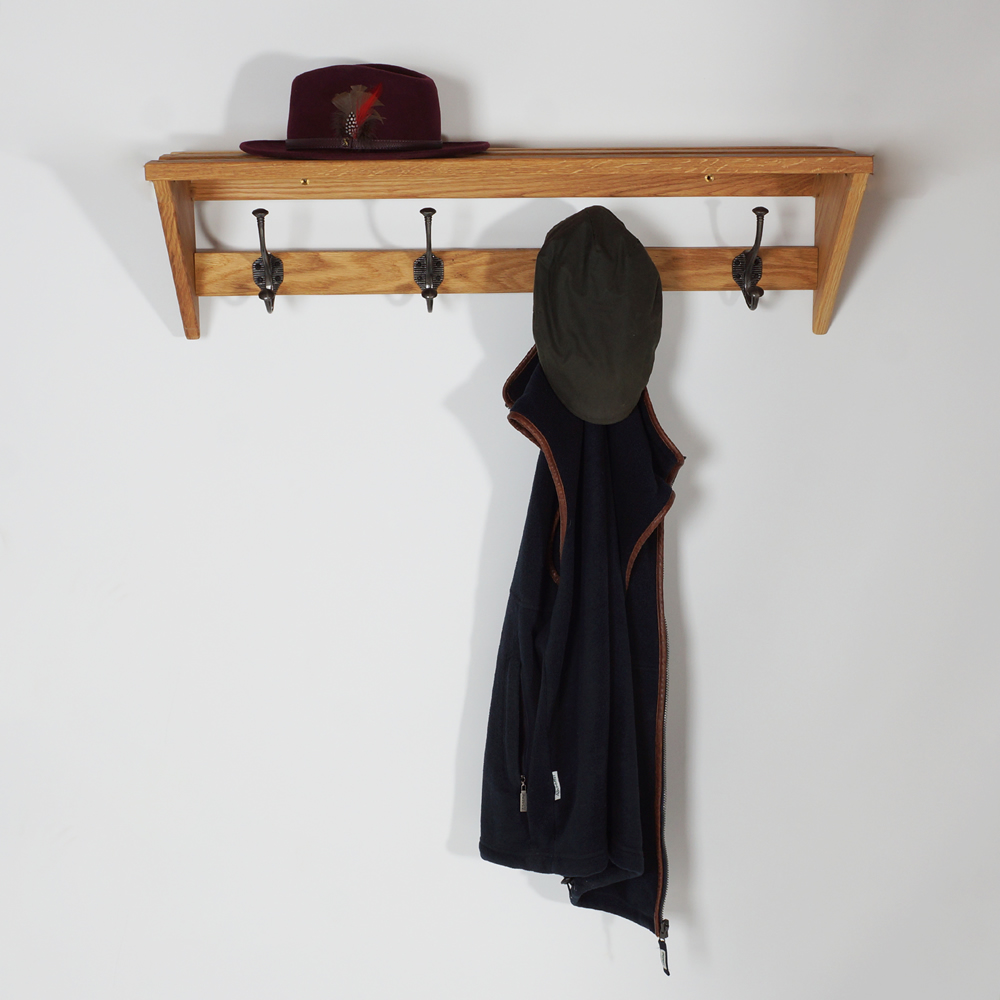 Solid Oak Coat and Hat Rack