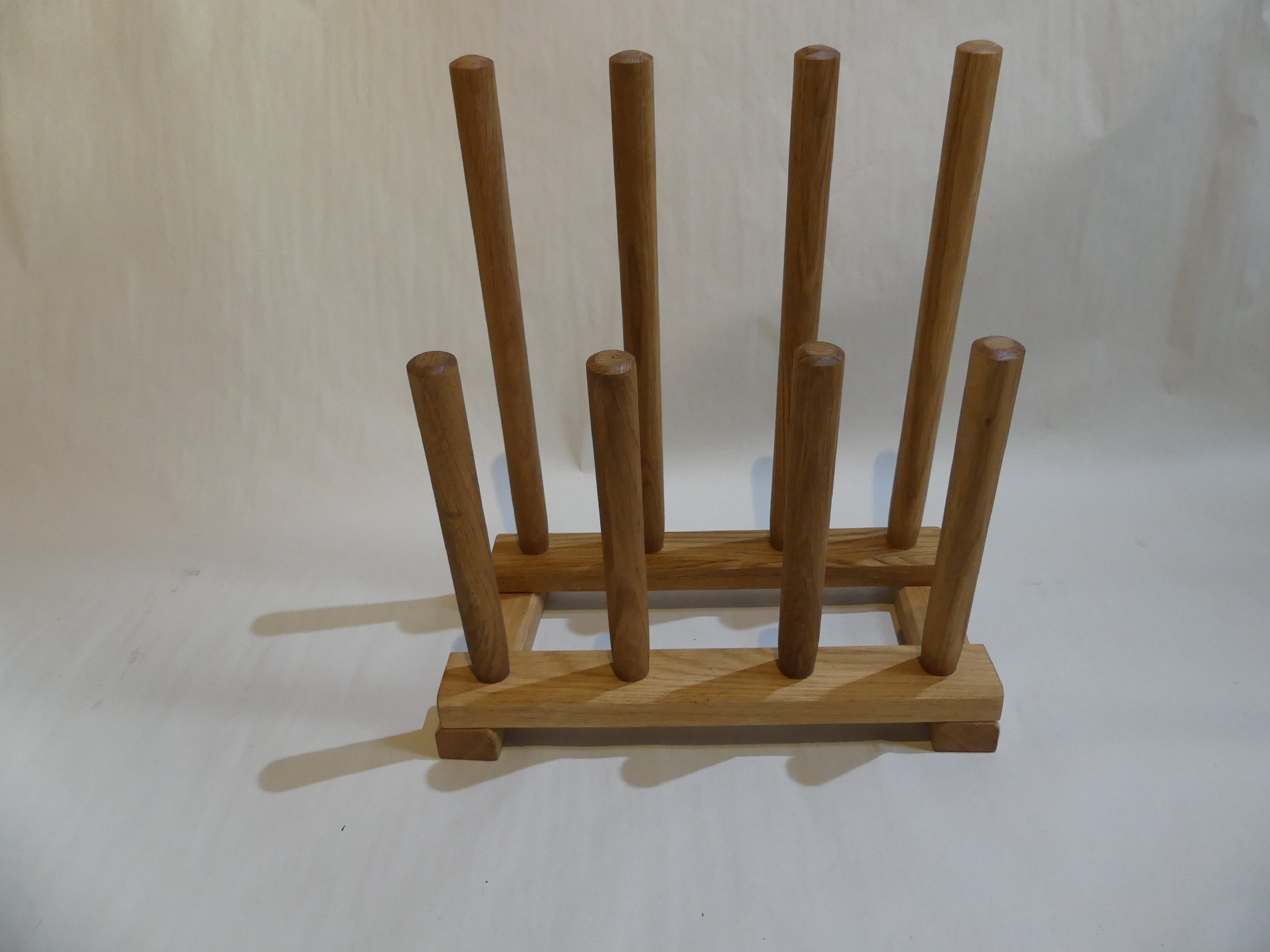 Solid Oak Double Row Free-Standing Combined Boot and Shoe Rack (2 pairs)